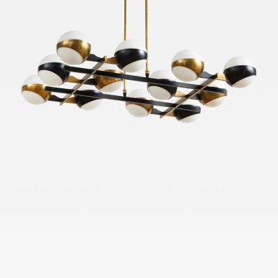 Stilnovo Twelve globe chandelier in black and brass