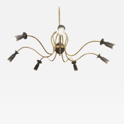 Stilnovo Unusual Stilnovo Style Sinusoidal Chandelier in Brass and Black Enamel