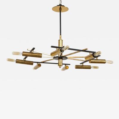 Stilnovo Vintage Mid Century Black and Brass Stilnovo Ceiling Light
