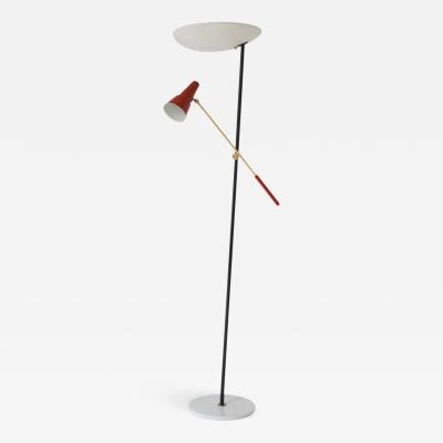 Stilnovo White and Red Double Shaded Floor Lamp