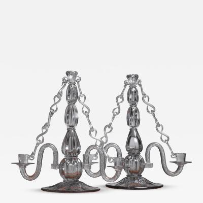 Strombergshyttan Gerda Stromberg and Knut Bergqvist Pair of Glass Candelabra Sweden 1941