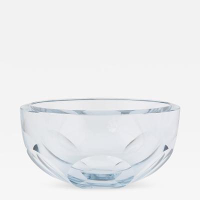 Strombergshyttan Large Fasceted Strombergshyttan Glass Centerpiece Bowl Circa 1950s