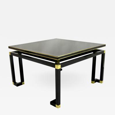 Studio A Studio A 1970s Italian Black Lacquered Wood and Brass Coffee Sofa Table
