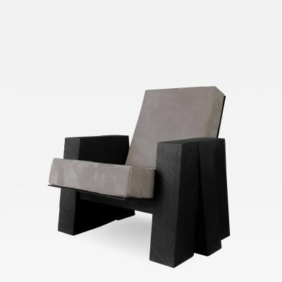 Studio Arno Declercq AD Lounge Chair Sculpted Iroko Wood Arno Declercq