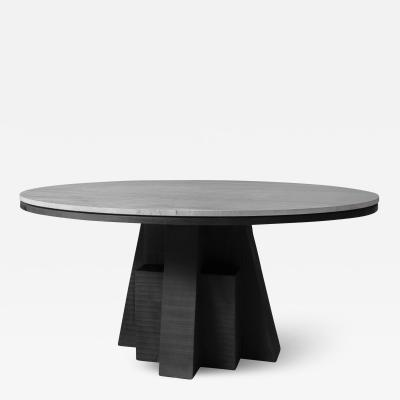 Studio Arno Declercq AD Round Table Iroko and Stone Signed Table Arno Declercq