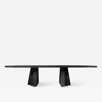 Studio Arno Declercq Ad Black Oak Dining Table Hand Sculpted Signed Arno Declercq