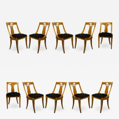 Studio BBPR BBPR Set of 10 Chairs in Wood and Synthetic Fur