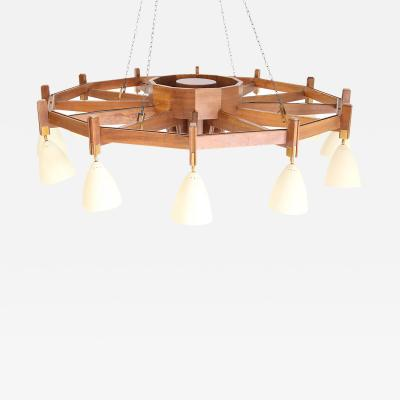 Studio BBPR Big Chandelier MidCentury Italian attributed to Studio BBPR in wood 1950s