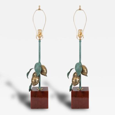 Studio BBPR Pair of Gilt Iron Lemon Lamps