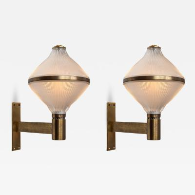 Studio BBPR Pair of Large 1960s Studio B B P R Brass Sconces