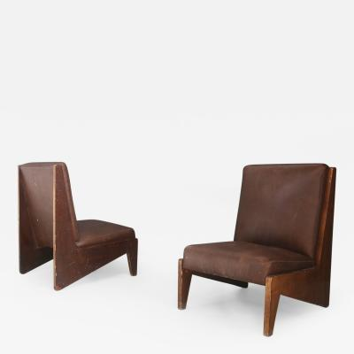 Studio BBPR Pair of Midcentury Italian armchairs attributed to BBPR in walnut and leather