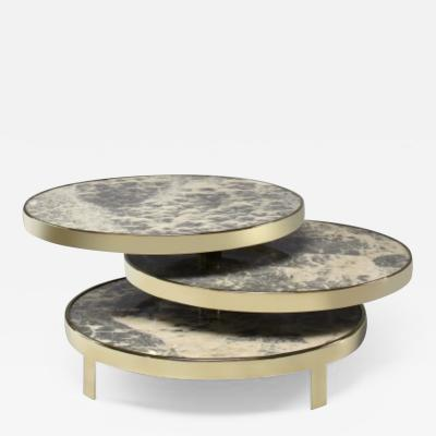 Studio Glustin Brass and onyx stone coffee table by Studio Glustin