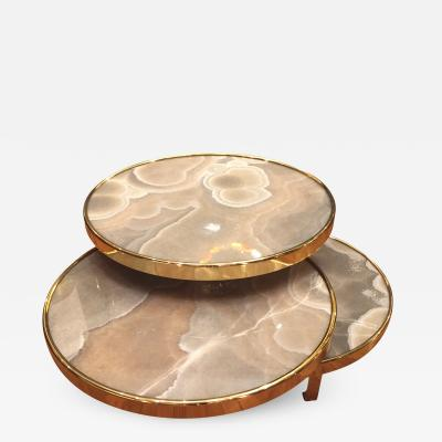 Studio Glustin Coffee table on 3 levels in onyx meteorite