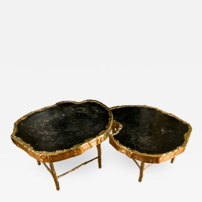 Studio Glustin Fabulous Pair of Petrified Wood Coffee Tables