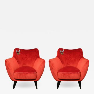 Studio Glustin Pair of Orange Velvet Armchairs