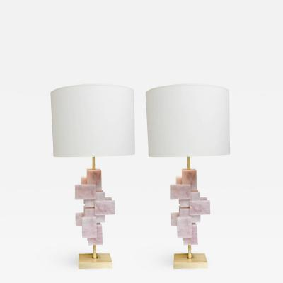 Studio Glustin Pair of Pink Quartz Lamps