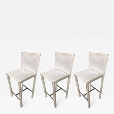 Studio Grassi Bianchi Set of Three Grazzi and Bianchi Stitched Leather Barstools for Enrico Pellizzoni