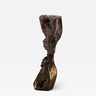 Studio Greytak Mirror Lake Amethyst and Cast Bronze Sculpture