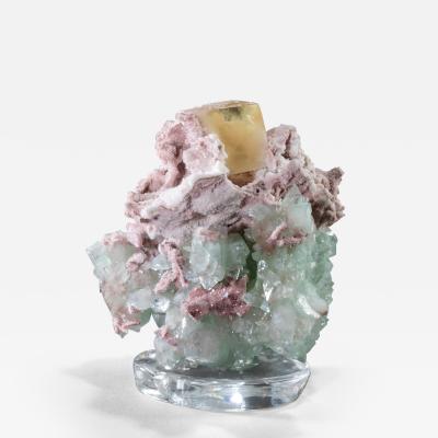 Studio Greytak Stilbite Calcite Apophyllite on Crystal Base