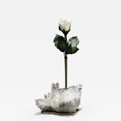 Studio Greytak Studio Greytak Bud Vase on Himalayan Quartz Bronze Clear Quartz White Rose