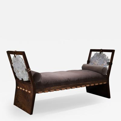 Studio Greytak Studio Greytak Daybed with Claro Walnut Brazilian Agate Bronze and Leather