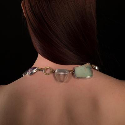 Studio Greytak Studio Greytak Jade Tiger Necklace Tigers Eye Jade Amber Opal 14kt Gold