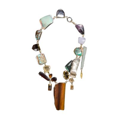 Studio Greytak Studio Greytak Jade Tiger Necklace Tigers Eye Jade Amber Opal 14kt Gold