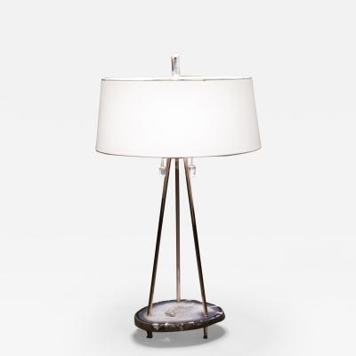 Studio Greytak Studio Greytak Pyramid Lamp 1 Brazilian Agate Mirror Polished Bronze Quartz