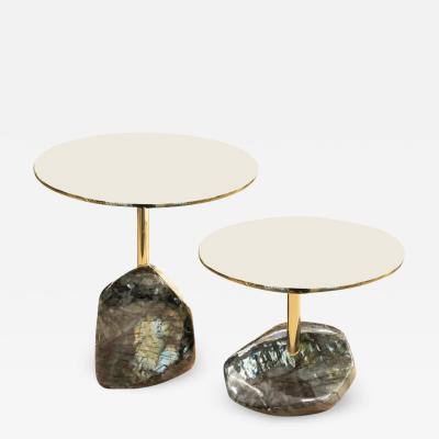 Studio Superego Pair of Labradorite Side Tables by Studio Superego