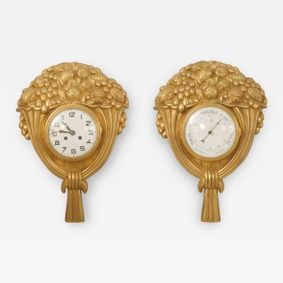 Sue et Mare Pair of French Art Deco Gilt Bronze Wall Clock and Barometer