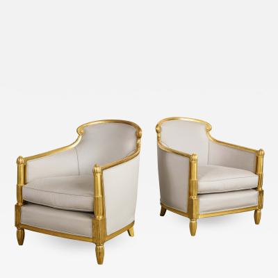 Sue et Mare Pair of French Art Deco Giltwood Bergeres