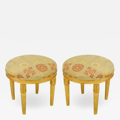 Sue et Mare Pair of French Art Deco Upholstered Low Stool