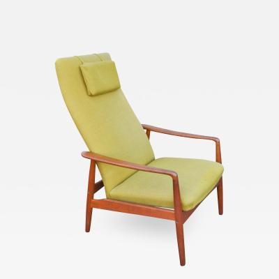 Svend Alfesson Teak Frame 2 Position Recliner by Svend Alfesson in Yellow Green
