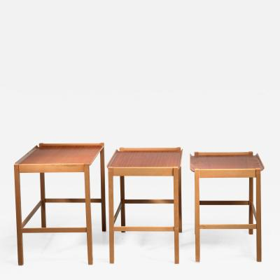 Svenska M belfabrikerna Axel Larsson set of 3 nesting tables by SMF Bodafors