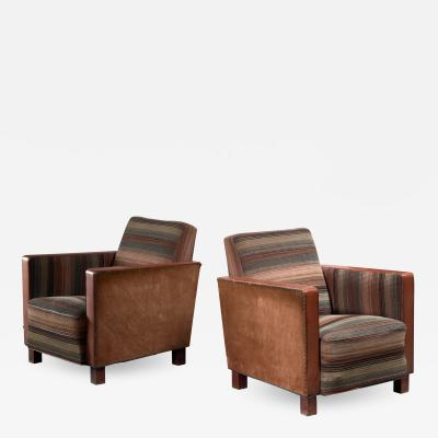 Svenskt Tenn Bjorn Tragardh pair of easy chairs in original upholstery