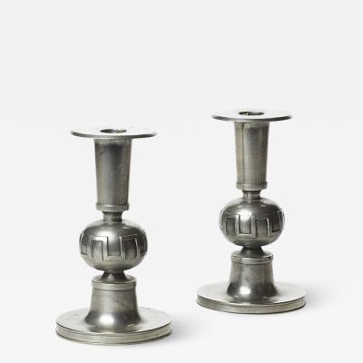 Svenskt Tenn Pair of Modern Classicism Candle Holders in Pewter by Svenskt Tenn