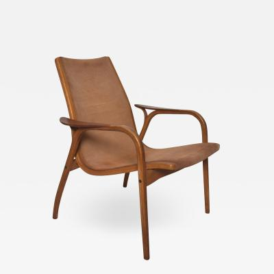Swedese Luxury Lamino Lounge Chair Cognac Leather Wood by Yngve Ekstrom for Swedese