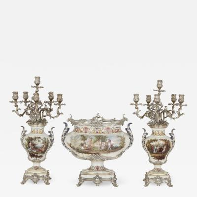 T tard Fr res Three piece silver mounted porcelain garniture by T tard Fr res