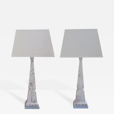 TYE of California Pair of American Faux Marble Obelisk Form Lamps by Tye of California
