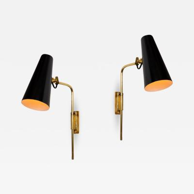 Taito Oy 1950s Paavo Tynell 9459 Wall Lights for Taito OY in Black