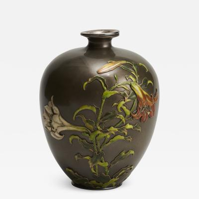 Takashoki An antique Japanese multi metal Shibuichi vase