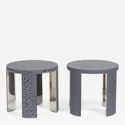 Talisman Bespoke The Circular Crackle Side Tables by Talisman Bespoke Charcoal and Silver