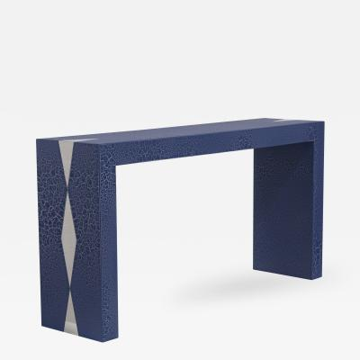 Talisman Bespoke The Crackle Console Table by Talisman Bespoke Navy and Silver