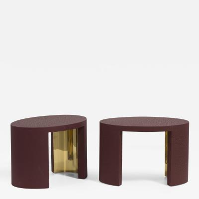 Talisman Bespoke The Oval Crackle Side Tables by Talisman Bespoke Burgundy and Gold