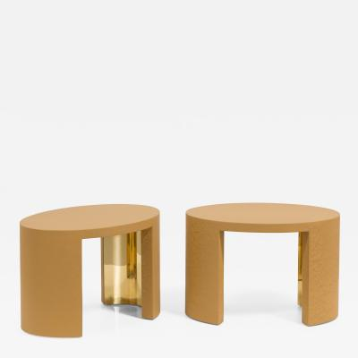 Talisman Bespoke The Oval Crackle Side Tables by Talisman Bespoke Ochre and Gold