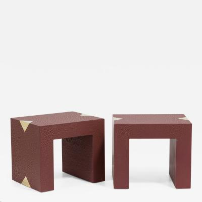 Talisman Bespoke The Rectangular Crackle Side Tables by Talisman Bespoke Burgundy and Gold