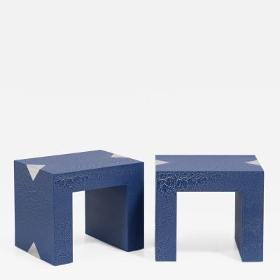 Talisman Bespoke The Rectangular Crackle Side Tables by Talisman Bespoke Navy and Silver