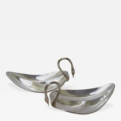 Tane Orfebres Pair of Mexican Sterling Silver Swan Form Bowls by Tane