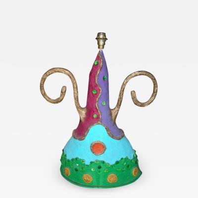Tarass Boulba End of 20th century papier mache and glass pearls lamp by Tarass and Boulba