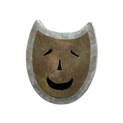 Taxco TAXCO Cat Smiling Modernist Sterling Silver Brass Onyx Brooch Pin MEXICO 1970s